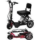 LPsweet Triciclo Eléctrico, Ligero Y De Aleación De Aluminio Marco Plegable Mini Bicicletas para Que Los Ancianos Ayuda para Caminar Discapacitados Y Portable Al Aire Libre Aventura,Negro