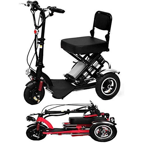 LPsweet Elektro-Dreirad, Leicht Und Aluminium Rahmen Folding Minifahrrad Für Ältere Menschen Hilfe Für Behinderte Wandern Und Tragbares Im Freien Abenteuer,Schwarz