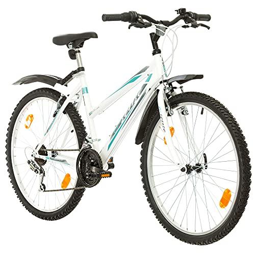 Multibrand, PROBIKE 6th Sense, 460mm, 26 Pollici, Mountain Bike, 18 velocità, Anteriore e Posteriore Set parafango, per Le Donne, Bianco-Rosa (Bianco + Parafango, 18 Pollici)