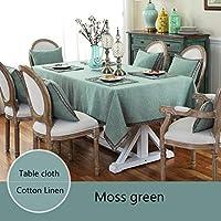 テーブルクロス 新しい北欧のシンプルなスタイルのテーブルクロスコットンリネンテーブルカバーソリッドカラー長方形/ウェディング/パーティー/ダイニングルームのための正方形テーブルクロス (Color : Moss green, Specification : 90x145cm)