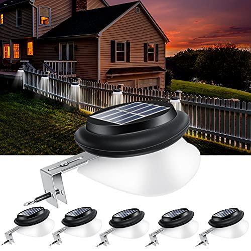 Solarlampen für Außen, AGOTD dachrinnen solarleuchten, 100LM IP55 Weiße Solar Gartenbeleuchtung Zaunlicht, Wegeleuchten Außen solarleuchte für Zaun, Patio, Gehwege, Hof, Garage, Eave, 6 Stück