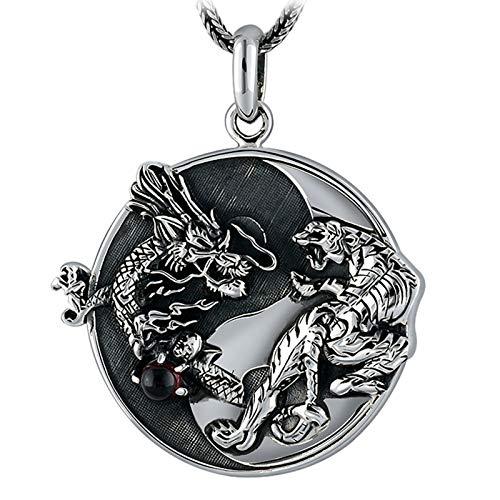 Aienid Collana Argento 925 J Rosee Ciondolo Yin Yang Drago E Tigre Senza Catena Argento Collana per Gli Uomini