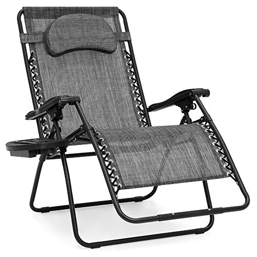 Best Choice Products Oversized Zero Gravity Chair, Folding Outdoor Patio Lounge Recliner w/Cup Holder Accessory Tray and Removable Pillow - Gray
