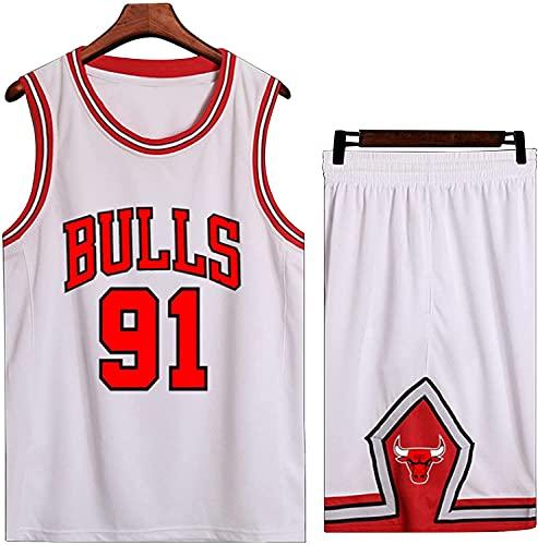 Jerseys Kits De Ropa Deportiva para Equipos De Compet Camiseta De Baloncesto Chicago Swingman para Adultos Y Niños,Bulls 91# Dennis Rodman Traje De Uniforme De Baloncesto(Size:/M,Color:G2)