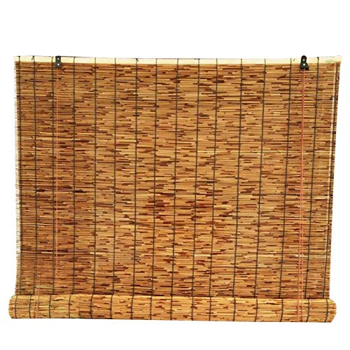 LLXNQ026 Cortinas De Caña Natural Persiana Enrollable De Bambú Retro Blackout,Persianas Enrollables Romanas,Aislamiento Térmico y Ventilación,para Jardín,Salón De Té,Balcón(120cm*300cm)