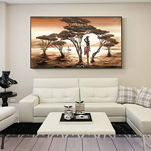 NIMCG Cuadro en Lienzo Arte de la Pared Decoración Familiar Pintura Paisaje Africano Cartel HD Imprimir Árbol Sala de Estar (Sin Marco) 70x140CM