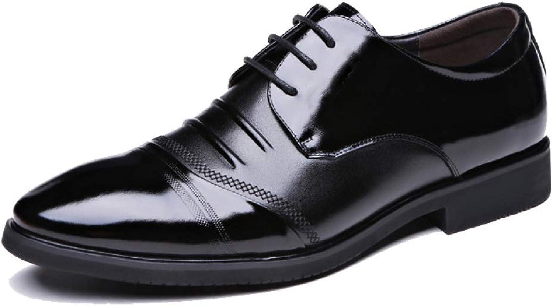 NIUMT Herren Lederschuhe Breathable British Style Schnürschuhe Spitz Business Casual