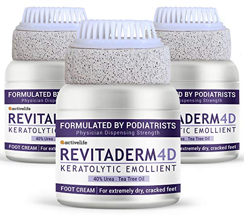 ActiveLife Revitaderm 40% Urea Cream for Calloused, Cracked Feet, Heels & Elbows - Callus Remover Lotion Urea Cream 40 Percent for Feet, Softens Rough, Dry Skin - (Pack of 3)