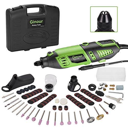 Mini amoladora eléctrica, Ginour Kit de herramientas rotatorias 170W Multifunción con 118 accesorios, Mandril triangular, 7 Velocidad Variable para DIY cortar/lijar/grabar/limpiar/pulir