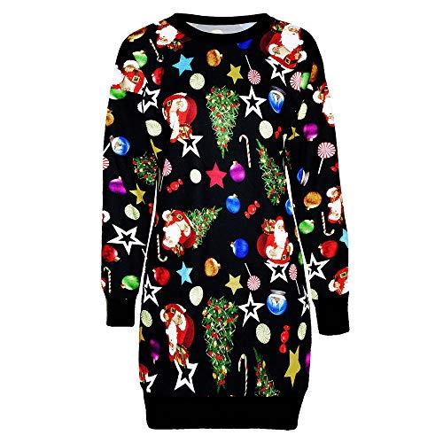 ZEELIY Robe de Noël Femme, 2020 Robe Renne Imprimé Manches Longue Rétro Mini Robe de Fête Grande Taille Costume Robe Pullover Blouse Haut Chaud - Idées Cadeaux