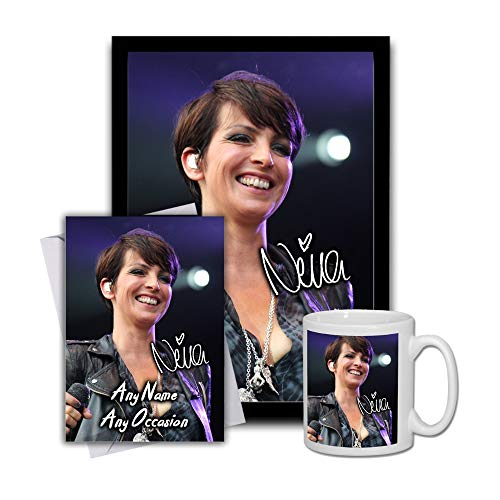 Star Prints UK Nena 2 Gift Set Bundle 2019 - Large 11cm Mug, A4 Framed Poster and Matching Birthday or Christmas Card (No Personalised Card)