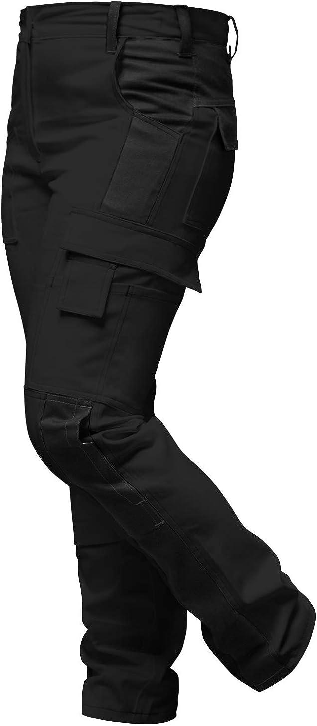 bot/ón YKK strongAnt/® Hecho en la UE Pantal/ón de Trabajo Completo con Bolsillos para Rodilleras Elasticos Pantalones de Trabajo para Mujer Gris Negro Cremallera YKK