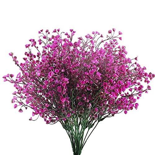 6 unidades de flores artificiales de GZhaizhuan, flores artificiales decorativas de plástico, para arreglos de flores, decoración de mesa y jardín (fucsia)