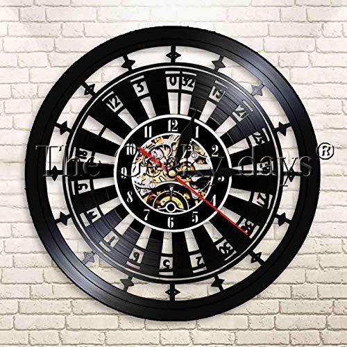 YINU 1 Pieza Casino Gamble Room Sign Ruleta Mesa de diseño Reloj de Pared Moderno Poker Juego de Ruleta Reloj de Pared con Registro de Vinilo