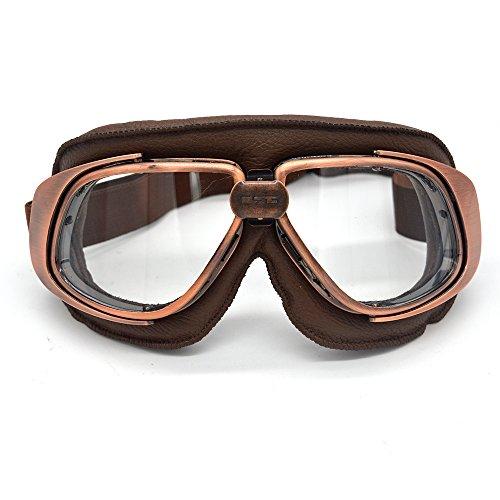 evomosa Vintage Retro aviador piloto estilo gafas para motocicleta Cruiser Casco Gafas Gafas (marrón + cobre, transparente)