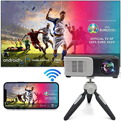 TINFF Mini Proiettore Portatile Full HD 1080P Nativo Supporta 4K 340 Video Proiettore Per Smartphone Home Theater per TV, iOS, Android, PPT, PS4,5(nero 360a)