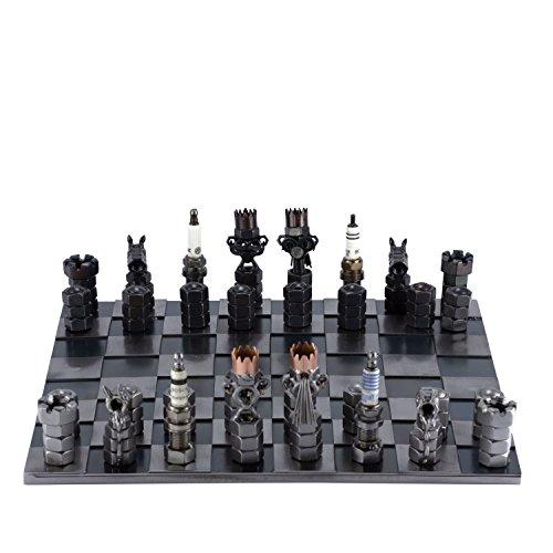 Steelman24 I Schraubenmännchen Schachspiel I Made in Germany I Handarbeit I Geschenkidee I Stahlfigur I Metallfigur I Metallmännchen