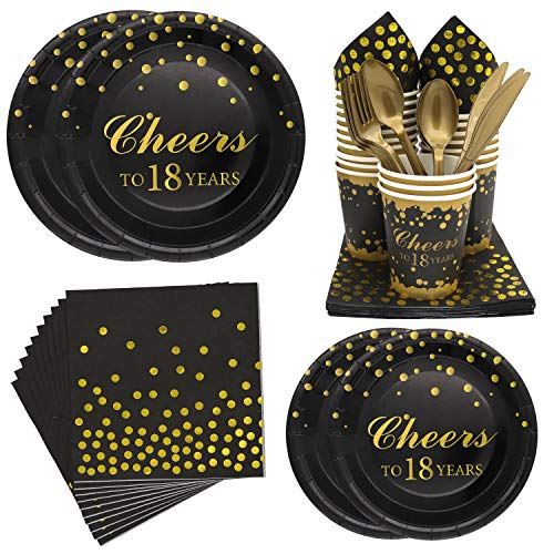 Pandecor 18 Years Old Birthday Party Disposable Tableware Set -Serves 20-18th Birthday Dinner Plates,Dessert Plates,Cups,Napkins,Forks,Knives and Spoons (18th birthday party pack)