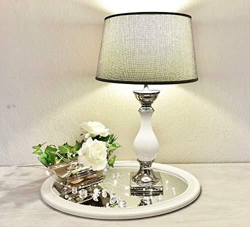 DRULINE Tischlampe Lampe Nachttisch leuchte mit Schirm Klassische Dekoration fürs Schlafzimmer | Wohnzimmer | Esszimmer| aus Keramik Groß | L x B x H 35 x 35 x 60 cm | Weiß Silber Grau