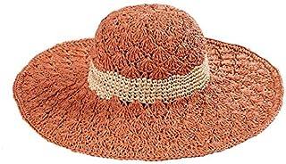 HMJZLywei New Summer Handmade Crochet Big Round hat Hollow Color Matching Sunshade Sunscreen hat (Color : Orange, Size : 54-55cm)
