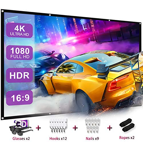 Projector Screen with 3D Glasses,120 Inch Projection Screen 4K Thickened Portable,16:9 HD Foldable Anti Crease Double Sided Movies Screen for Home Theater Outdoor Indoor 1.1 GAIN, 160°Viewing