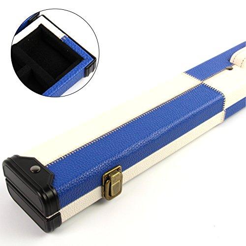 Funky Chalk Luxury Blue & White Leather Patch Effect 2pc Pool Snooker Cue Case Billardqueue-Koffer mit Leder-Effekt, Blau/Weiß, 2 Stück