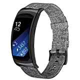for Gear Fit2/ Fit 2 Pro Bands, ViCRiOR Premium Canvas NATO Woven Nylon Replacement Strap Watch Band for Samsung Gear Fit 2 Pro / Gear Fit 2 , Black Grey