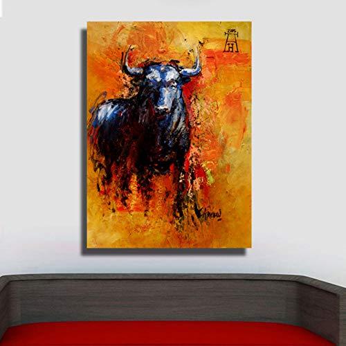 Decoración para el hogar Toro Animal Pintura al óleo sobre Lienzo en la Pared Cuadros para Sala de Estar Arte de la Pared Cuadros e Impresiones de Cuadros 60x80cm Sin Marco