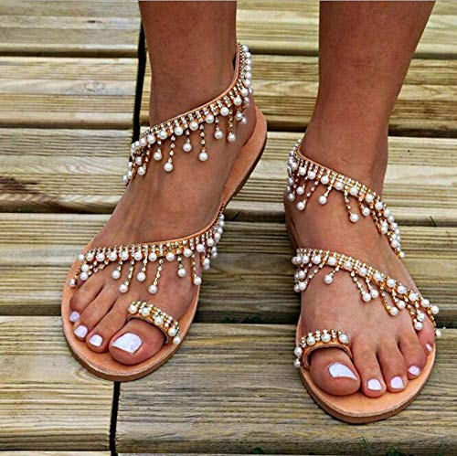 CTEJ Damen Perlensandalen Sommer Boho Style Damen Schuhe Party Sexy Perle Flache Sandalen,Braun,42