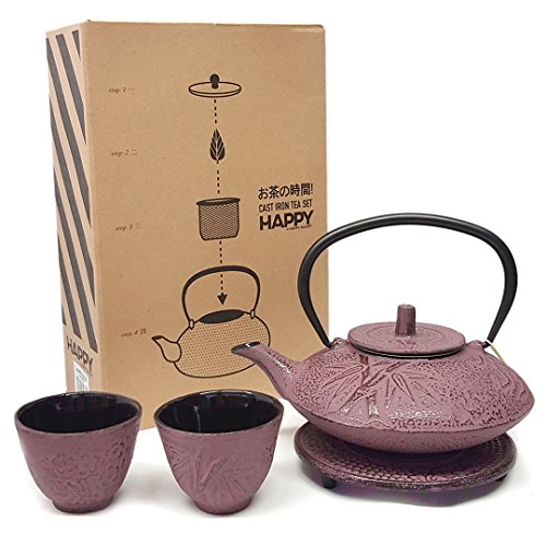 Happy Sales , Cast Iron Tea Pot Tea Set Bamboo Pink, 18-OZ