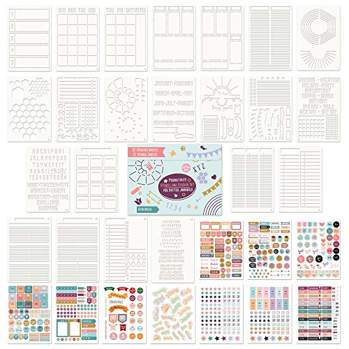 Ultimate Productivity Stencil and Planner Sticker Set for Dotted Journals - Time Saving Accessories/Supplies Make Creating Layouts Easy - Incl. Bullet Point Checklists, Daily/Weekly/Monthly Calendars