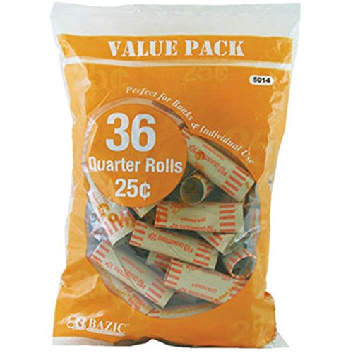 Bazic Quarter Coin Wrappers, 36 Per Pack – 6 Packs (Total 216)