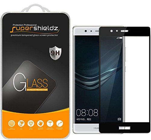 (2 Pack) Supershieldz Designed for Huawei (P9 Plus) Tempered Glass Screen Protector, (Full Screen Coverage) Anti Scratch, Bubble Free (Black)