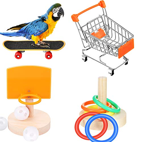 Weewooday 4 Pieces Bird Training Toy Set Include Shopping Cart Basketball Stacking Ring Toy Skateboard Parrot Intelligence Toy for Tabletop Cage Parakeets Cockatiels, Macaws, Parrots