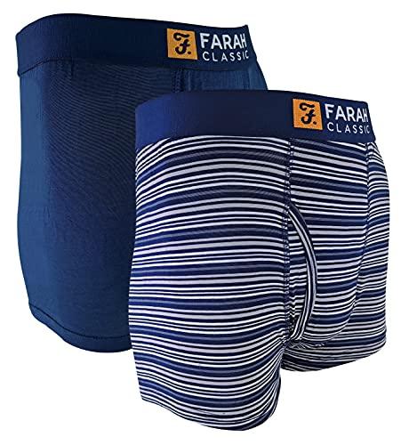 FARAH® - 2er Pack Herren Bambus Viskose Boxershorts | Trunks mit Uni & Gestreift Design | Unterhosen Bambusfaser (Marine-Streifen, XXL)