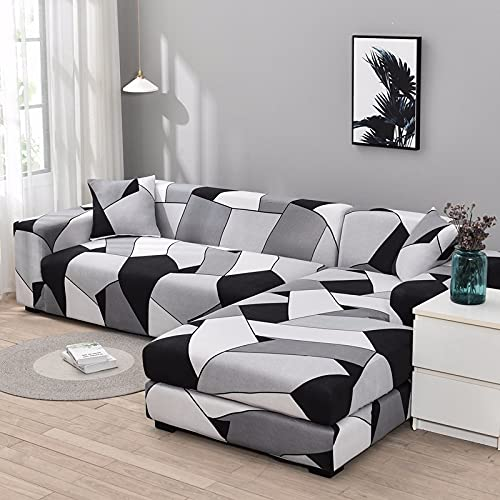 Funda de sofá elástica Funda de sofá geométrica Funda de sofá elástica para Sala de Estar Esquina de Mascotas en Forma de L Chaise Longue Funda de sofá A14 3 plazas