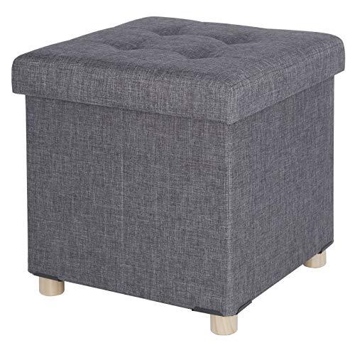 eSituro SOM0037 Sitzhocker Sitzwürfel Polsterhocker Aufbewahrungsbox mit Stauraum faltbar Deckel Abnehmbar Leinen Dunkelgrau