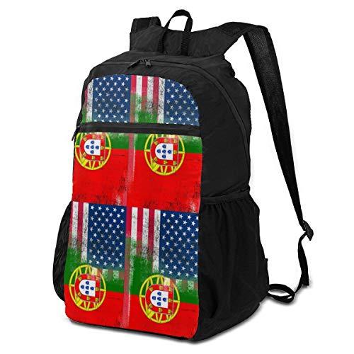 Xiongone - Mochila unisex con bandera de Portugal americana, ultraligera, resistente al agua, plegable, para viaje, senderismo