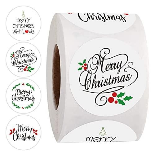 500 adesivi natalizi a rotolo, 4 modelli di biglietti regalo per confezioni regalo, etichette...