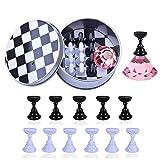 12本 磁気ネイルアートディスプレイスタンド Kalolary チェスボード ネイルチップスタンド ディスプレイスタンド サンプルチップ 練習ネイルサロンツール(ピンク)
