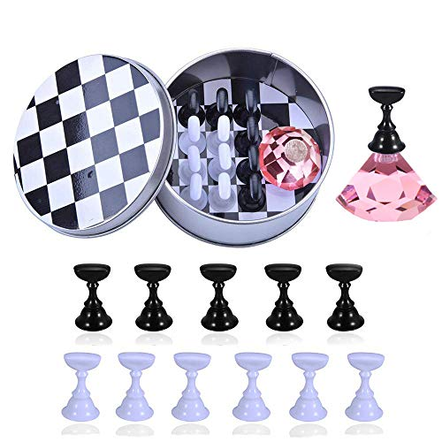 Kalolary 1 Set Nail Art Holder Practice Stand for Nail Art Display, Magnetic Nail Stand Tips Holders Crystal Holder Chessboard Fingernail DIY Training Practice Display Stand(Pink)