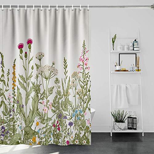 Floral Shower Curtain Plant Botanical Shower Curtain Watercolor Boho Flower Shower Curtain Vintage Green Leaves Herbs Bath Curtain with Hooks for Bathroom Bathtub