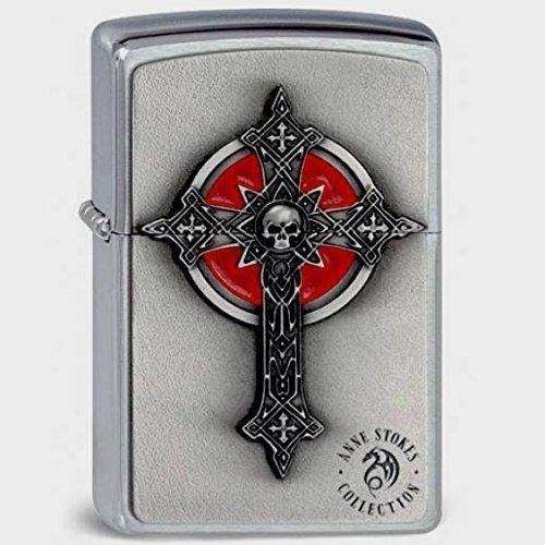 Originale Zippo Gothic Cross & Skull, croce, 3D-Logo