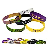 24 Star Kobe Basketball Silicone Bracelet Wristbands - gifts for Men Women Fans- Pack of 6 different colors