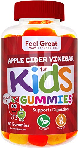 Feel Great Vitamin Co. Apple Cider Vinegar Gummies for Kids | Digestive & Immune Support | Natural Antioxidant | Supports Healthy Nutrient Absorption | 500mg of ACV per Serving | 60 Gummies