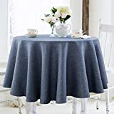 JUCFHY Round Table Cloth,Linen Rustic Tablecloth Heavy Duty Fabric,Stain Proof,Water Resistant Washable Table Cloths,Decorative Round Table Cover for Kitchen,Holiday(70 Inch Round,Navy Blue)
