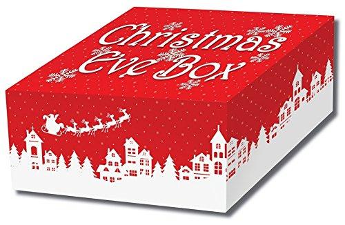 Buzz Boîte de réveillon de Noël – solide Plat Lot carte Boîte de réveillon de Noël – Style nordique traditionnel Rouge et blanc pliable Boîte de réveillon de Noël