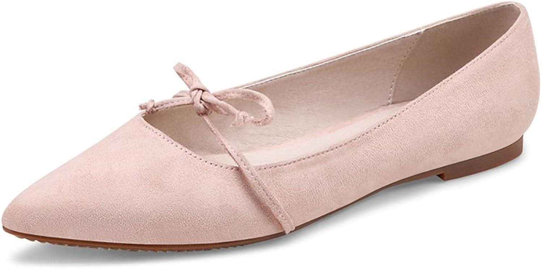 Punted Toe Flat skor Bowknuten Elegant Elegant Elegant Soft Pregnant kvinnor skor (färg  Naken färg, Storlek  39)  rättvisa priser