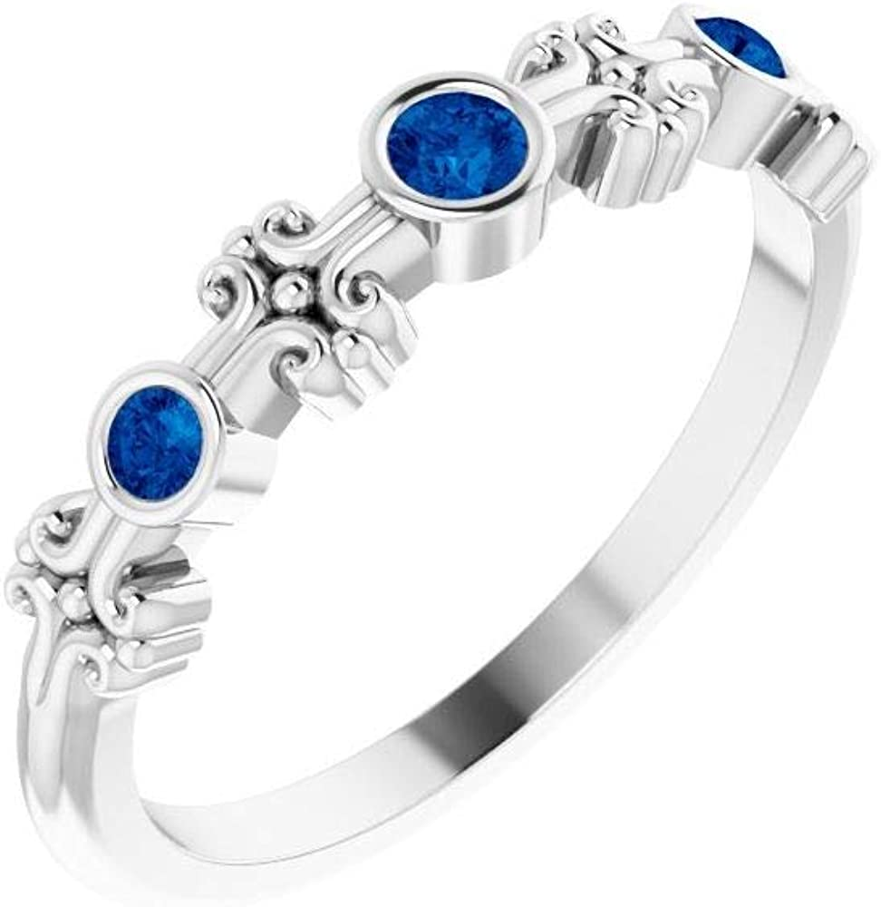 Solid OFFicial mail order 14k White Gold Solitaire Bezel-Set Sapphire Ring Band A surprise price is realized Blue