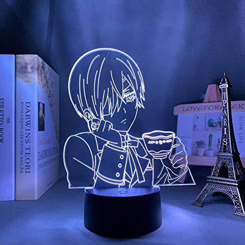 Lámpara de noche 3D de anime, ilusión, lámpara de acrílico 3D, anime, negra, para dormitorio, decoración, luz nocturna infantil, regalo de cumpleaños, habitación, escritorio, manga negra
